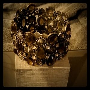 Green Olive and Brown Stone's Cuff Bracelet